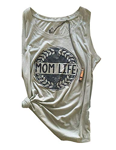 Mafulus Womens Mom Life Funny Fashion Sleeveless Graphic Tees Summer Cami Tops Mother's Day D Grey