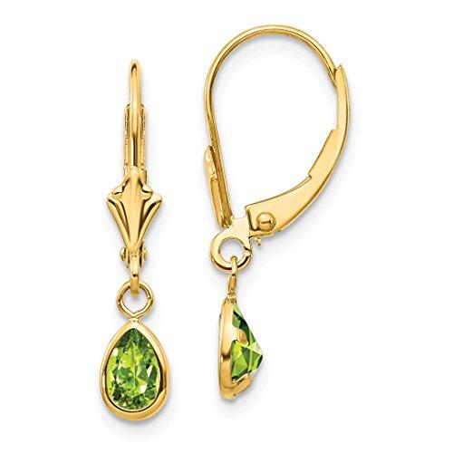 - 14k Yellow Gold 6x4mm August/peridot Leverback Earrings Lever Back Drop Dangle Birthstone August Fine Jewelry For Women Gift Set