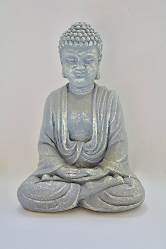 Blessing Zen Meditating Seated Buddha Stature Indoor Home Decor 17cm High (Sand Stone) (Seated Buddha Statue)