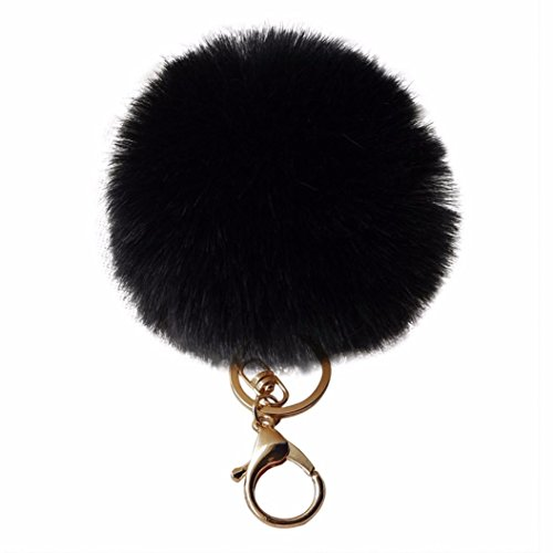 Amiley Fluffy Faux Rabbit Fur Ball Charm Pom Pom Car Keychain Handbag Wallet Backpack Key Ring (Black)