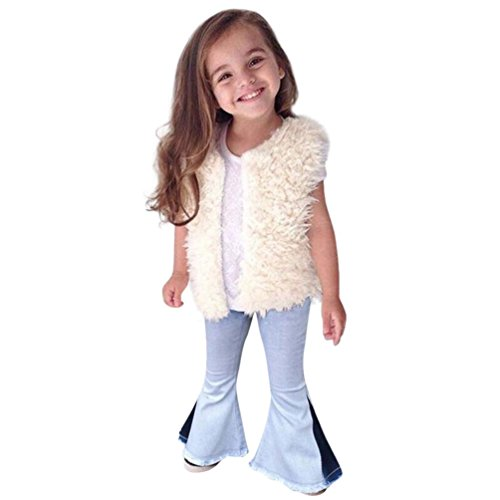 Fineser Baby Girls Vintage Jeans Kids Splice Bell-Bottoms Denim Pants Trousers 18M-5T (Light Blue, 18M) (Make Bell Bottom Jeans)