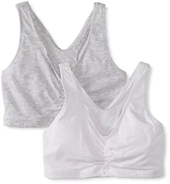 Hanes Women's Comfort-Blend Flex Fit Pullover Bra (Pack of 2),Heather Grey/White,XXX-Large