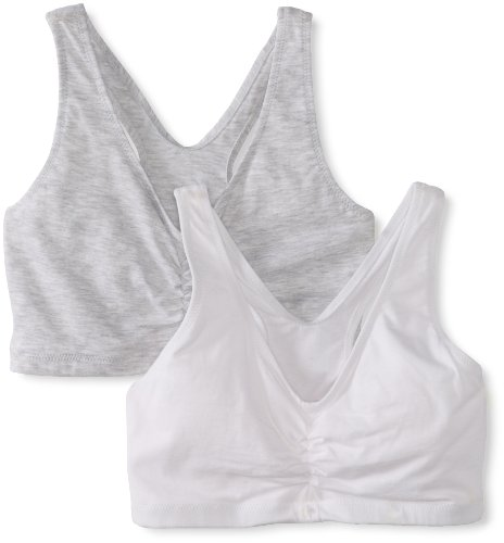 Hanes Women's Comfort-Blend Flex Fit Pullover Bra (Pack of 2),Heather Grey/White,Large