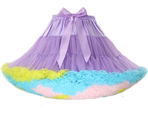 FOLOBE Women's Tutu Costume Ballet Dance Multi-Layer Puffy Skirt Adult Luxurious Soft Petticoat Purple