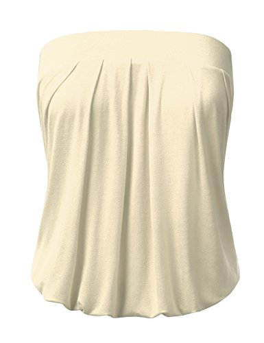 Pleated Tube Top (DRESSIS Wowen's Solid Natural Pleated Tube Top STONE L)