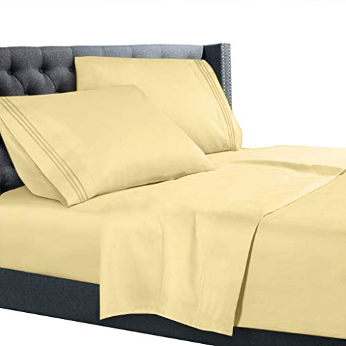 Twin Size Bed Sheets Set Light Yellow, Bedding Sheets Set on Amazon, 3-Piece Bed Set, Deep Pockets Fitted Sheet, 100% Luxury Soft Microfiber, Hypoallergenic, Cool & Breathable