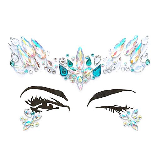 Inverlee 1 Sheet Facial Gems Adhesive Glitter Jewel Tattoos Stickers Wedding Festival Party Body Makeup (D1)
