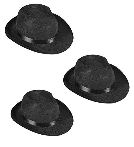 [Black Fedora Gangster Hat Costume Accessory - Pack of 3] (Ganster Hat)
