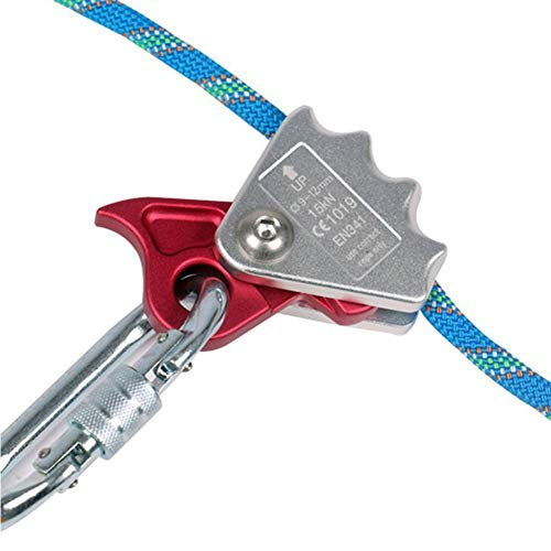 zzpopGG Rock Climbing Safety Rope Pulley,15KN Rock Climbing 9mm-12mm Rope Grab Ascender Riser Adjuster Protection Gear