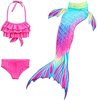 Swimmable Tail Swimming Swimwear Costumes Kids Girl Mermaid Tail Bikini Set