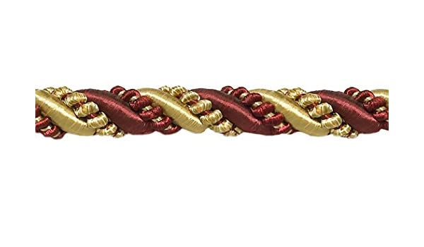 Noblesse Collection Lip Cord Style# 0716H Color: Carmine Gold D/ÉCOPRO Large 7//16 Burgundy Red Gold 1253 Sold by The Yard