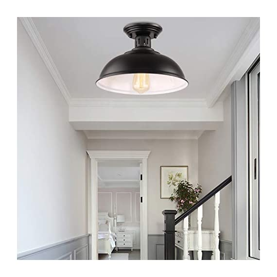 HMVPL Semi Flush Mount Ceiling Light Fixture, Farmhouse Black Close to Ceiling Lighting Industrial Decor Lamp for Kitchen Island Bedroom Living Room Foyer Hallway Entryway Office Closet - Wide Application: Kitchen Island, Dining Room, Living room, Bed room, Café, Bar, Hotel, Office, Hallway, Entryway, Foyer, barn, warehouse, basement, garage, porch, and more. Retro Industrial Design - This pendant light features on the black finish lampshade, which easily brings you back to 19th century. It will adds stylish touch to your house and business areas. Medium Base Socket -Designed with E26 bulb socket that is compatible with a variety of bulb types: Incandescent, Halogen. LED (60W Max, Not Included). This fixture can be dimmable if use compatible dimmer switch and bulb. - kitchen-dining-room-decor, kitchen-dining-room, chandeliers-lighting - 41gc MYkVKL. SS570  -