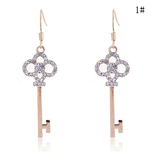 Pave Key (Lureme Pave Crystal Key Shape Gold Tone French Hook Drop Earrings for Women (Gold)02002323-1)
