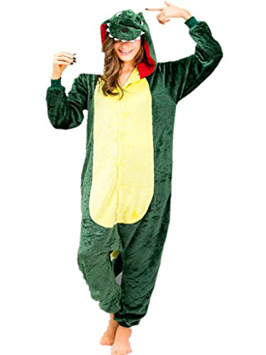 Dinosaur Costumes Women (Dinosaur Animal Onesie Adult Pajama for Women Unisex Dino Footie Onsie Nightwear)