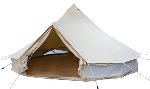 DANCHEL OUTDOOR Bell Tent with Full Mesh Around The Wall, (Double Wall), no Stove Jacket (Khaki, 10ft ie. 3m)