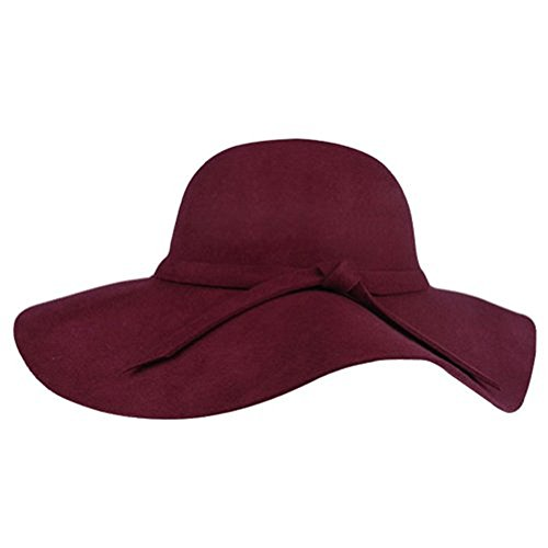 Dealzip Inc Vintage Style Women Lady Wide Brim Imitation Wool Felt Bowler Fedora Cloche Floppy Beach Sun Hat Cap with Lovely Bow Band (Wine - Best Hat Designers