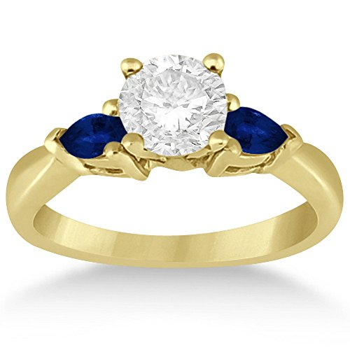 Three Stone Blue Sapphire Engagement Ring Mounting Gemstone 3-Stone 14k Yellow Gold (0.50ct) 14k Yellow Gold Ring Mounting