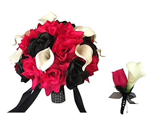 - 2pc Set, Large bridal bouquet and boutonniere-Hot pink roses and black with real touch calla lily