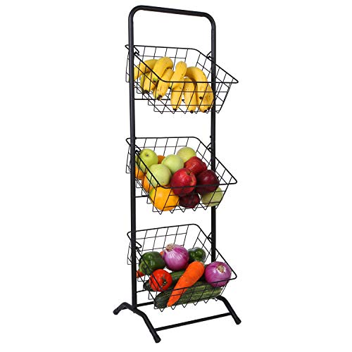 Mythinglogic 3-Tier Wire Metal Market Basket Stand; Fruit, Vegetable, Produce Hanging Storage Bin for Kitchen; Bathroom Towel Basket Display Rack, Black Wire Basket Tower