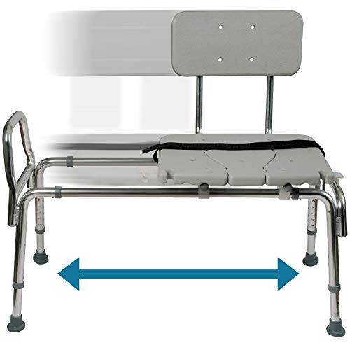 Tub Transfer Bench and Sliding Shower Chair Made of Heavy Duty Non Sli