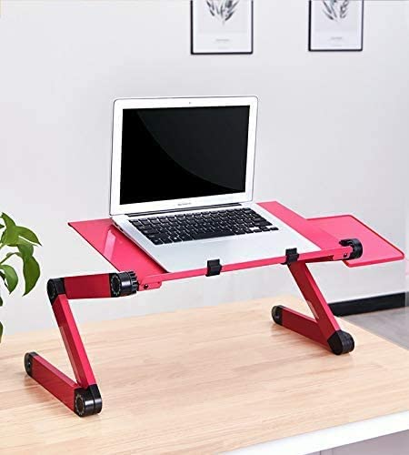 Portable Computer Laptop Stand Fully Ergonomic Design for Bed and Sofa Vented Computer Desk Adjustable Riser Have Mouse Pad,Pink