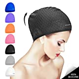 Womens Silicone Swim Cap for Long/Curly Hair,3D Ergonomic Design Swimming Caps Swimming Pool Laps Hat for Kids Men Adults Boys Girls