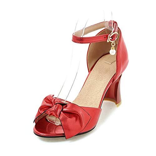 MENGLTX Talon Aiguille Talons Hauts Sandales Femmes Sandales Peep Toe Bowknot Chaussures De Parti Boucle Simple Chaussures D'Été Chaussures À Talons Hauts Chaussures Femme Rouge Rose