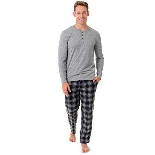 Chaps Men's Jersey Henley and Microfleece Pajama Set, Grey Heather, Large