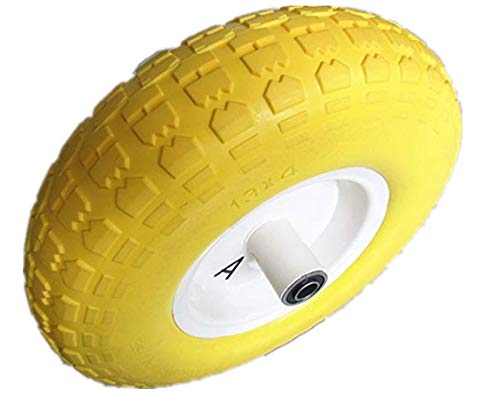 Kunhua 14-pu-y-sz-16 4.00-6-inch Flat Free Wheelbarrow Tire - 4.5-inch Centered Hub(Two Sides Symmetrical) - 5/8-inch Ball Bearings - 13-inch Tire Diameter