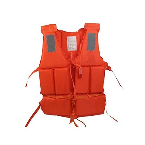 Ezyoutdoor Orange Life Jacket Vest Lightweight Multi-function Foam Reflective Foam Swimming Life Jacket Vest + Lifesaving Whistle for Adult