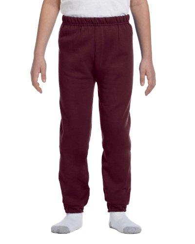 Jerzees Youth Elastic Waist Pill Resistant Fleece Sweatpant, Maroon, Medium ()