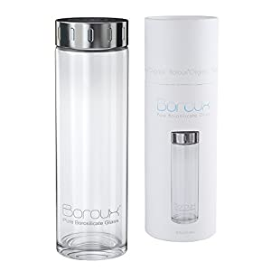Boroux Glass Water Bottle w/ EASY GLIDE LID .5 Liter Handmade, Sustainable BPA Free Ultra Clear Pure Borosilicate Glass. Replace Plastic Water Bottles in your life Great for Essential Oils & Smoothies