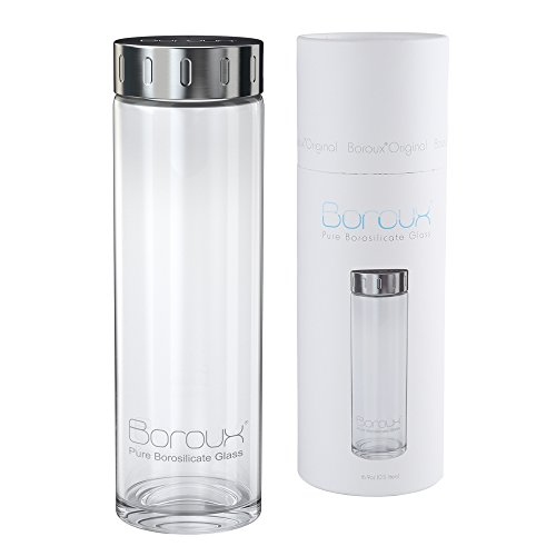 Boroux Glass Water Bottle w/ EASY GLIDE LID .5 Liter Handmade, Sustainable BPA Free Ultra Clear Pure Borosilicate Glass. Replace Plastic Water Bottles…
