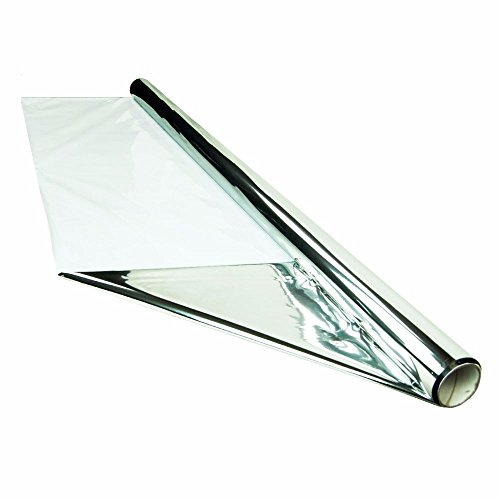 HTGSupply 25 Foot by 4 Foot Reflective Mylar On White Poly Roll, 2-Mil