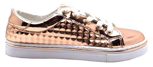 Qupid Kvinna Matthew-03 Mode Sneaker Steg Guld Glänsande Uppfylls