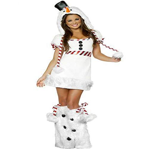 CVCCV Christmas Snowman Plays Uniform Halloween Animal Performance Costume Polyester Fabric Suitable for Women (White) -