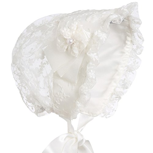 - Hanakimi Lace Royal Baby Bonnet Handmade KM011 (M/12M, White)