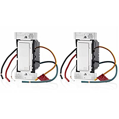 Leviton DW1KD-1BZ Decora Smart Wi-Fi 1000W Universal LED/Incandescent Dimmer, Works with Amazon Alexa, 2-Pack
