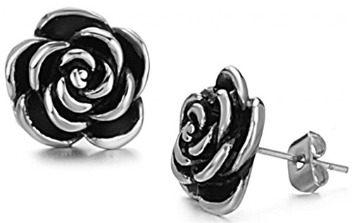 (JSDY Women's Girls Stainless Steel Rose Flower Ear Stud Earring Jewelry Gun Black)