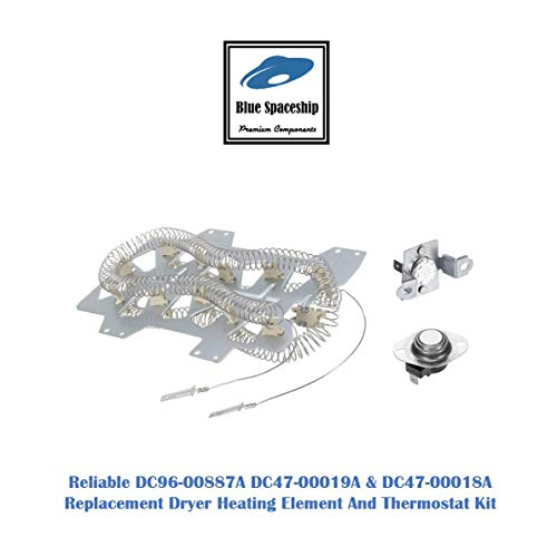 Reliable DC47-00019A DC47-00018A DC96-00887A Dryer Heating Element And Thermostat Kit. Replacement Part Fits for Samsung & Kenmore Dryers