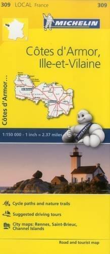 cotes-d-armor-ille-et-vilaine-michelin-local-map-309-mapas-local-michelin-band-309