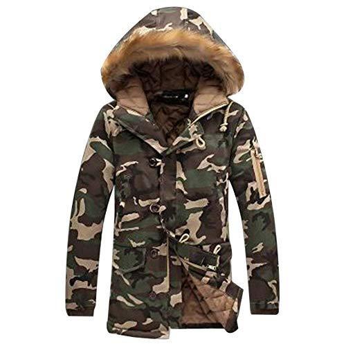 Giacca Winter Felpa Grün Camouflage Uomo Warm Lunghe Long Abbigliamento Maniche Pattern Jacket Con Armee Invernale In Da A Cappuccio Pelliccia qFrWnXF7w