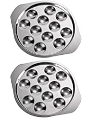 Hemoton Stainless Steel Snail Escargot Plate 4Pcs Oyster Serving Trays 12 Compartment Holes Food Dish Baking Pans Shell Shaped Dishes for Lemons Sauce Escargot Oysters