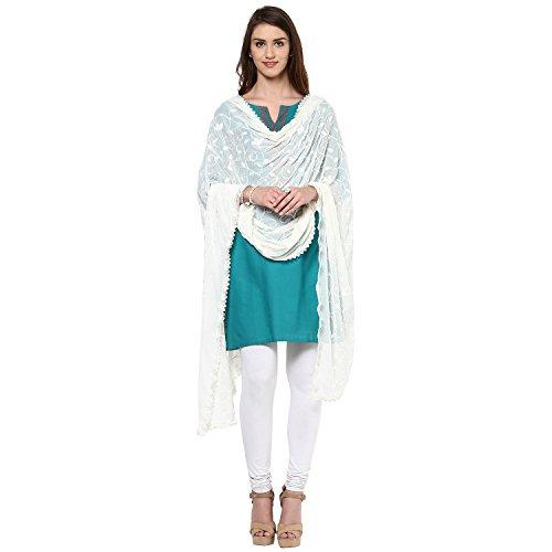 Dupatta-Bazaar-Womans-Embroidered-Cream-Chiffon-ChunniDupatta-Stole-with-Lace-Border