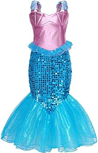 IWFREE Vestido Disfraz de Sirena Traje para Niña, Disfraz Ariel ...