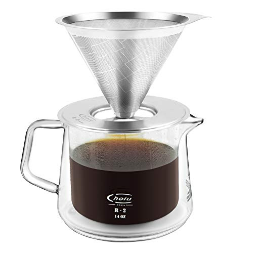 Choiu Pour Over Coffee Maker with Double Wall Borosilicate Glass Server and Stainless Steel Drip Coffee Filter Cone - 16floz (1-3 Cups) (Carafe and Filter Set) ()