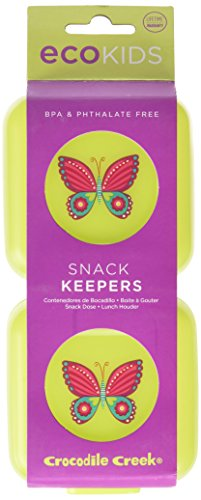 Crocodile Creek Girls Eco Reusable Butterfly Snack Keeper (Set of 2), Green