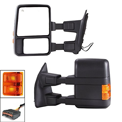 Nova for 99-07 Ford F250 F350 F450 F550 & 99-05 Ford Excursion Super Duty Excursion Towing Power Heated Mirrors Set Pair With Amber Side Turn Signal Lights 1999 2000 2001 2002 2003 2004 2005 2006 2007 ()