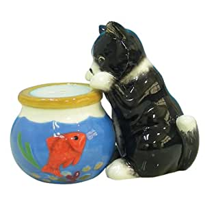 Westland Giftware Mwah Magnetic Cat and Fishbowl Salt and Pepper Shaker Set, 3-Inch