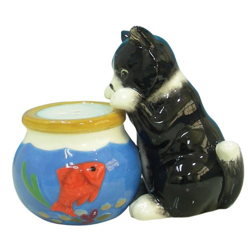 - Westland Giftware Mwah Magnetic Cat and Fishbowl Salt and Pepper Shaker Set, 3-Inch